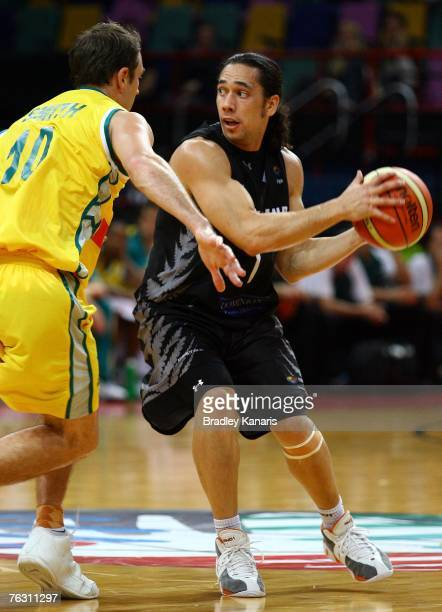 Paul Henare of the Tall Blacks looks to pass during game three of the 2007 FIBA Oceania Men's Championship between the Australian Boomers and the New...