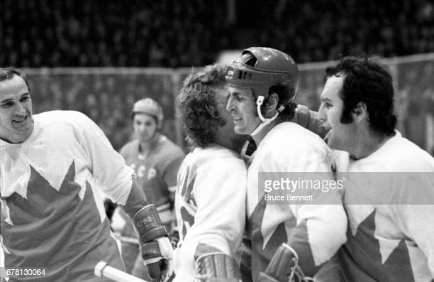 Paul Henderson Bobby Clarke Ron Ellis and Bill White of Canada celebrate a goal during a game against the Soviet Union in the 1972 Summit Series...