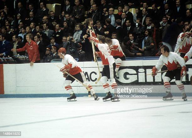 Paul Henderson Jean Ratelle and Yvan Cournoyer of Canada celebrate on the ice during the 1972 Summit Series against the Soviet Union in September...