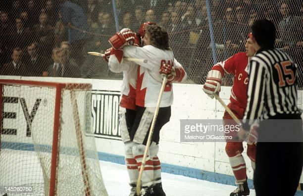 Paul Henderson of Canada celebrates with Bobby Clarke after scoring the gamewinning goal against the Soviet Unioin during Game 7 of the 1972 Summit...