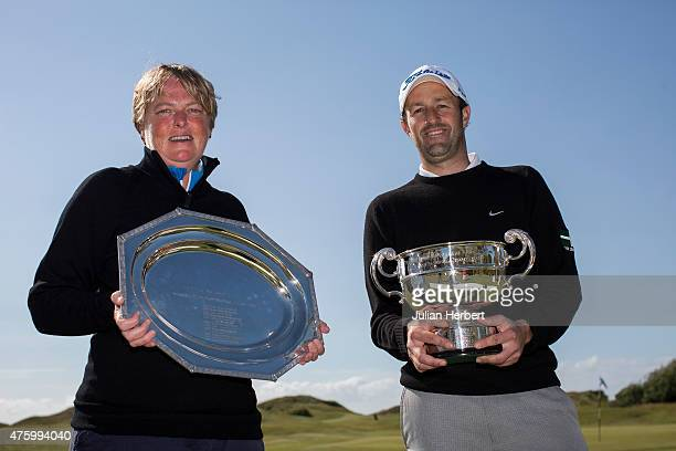 Paul Hendriksen of Dinnaton Golf Club and Tracy Loveys of Bigbury Golf Club after winning the Titleist FootJoy PGA Professional Championship at...