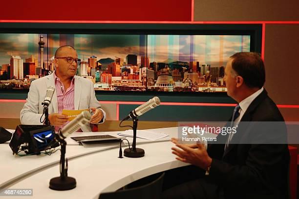 Paul Henry interviews New Zealand Prime Minister John Key during MediaWorks new morning show Paul Henry on April 7 2015 in Auckland New Zealand