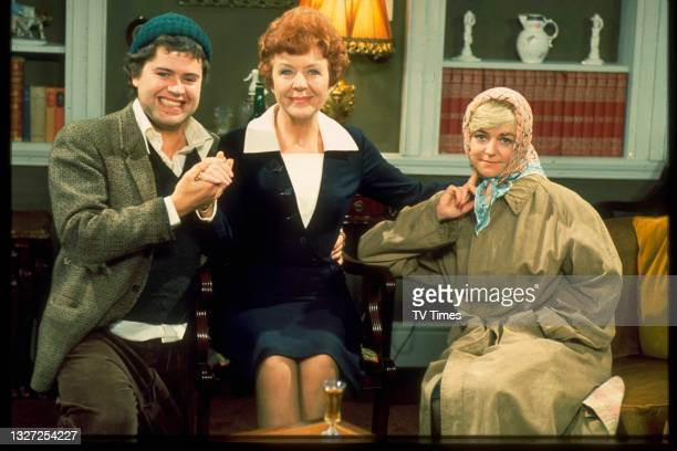 Paul Henry, Noele Gordon and Susan Hanson in character as Benny Hawkins, Meg Mortimer and Diane Parker in television soap Crossroads, circa 1975.