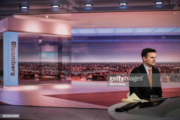 Paul Hickey cofounder of Bespoke Investment Group LLC listens during a Bloomberg Television interview in New York US on Thursday Feb 16 2017 Hickey...