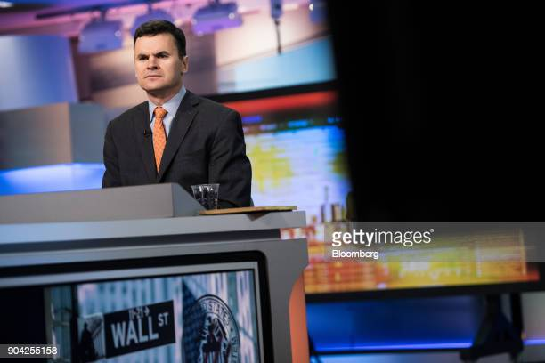 Paul Hickey cofounder of Bespoke Investment Group LLC listens during a Bloomberg Television interview in New York US on Friday Jan 12 2018 Hickey...