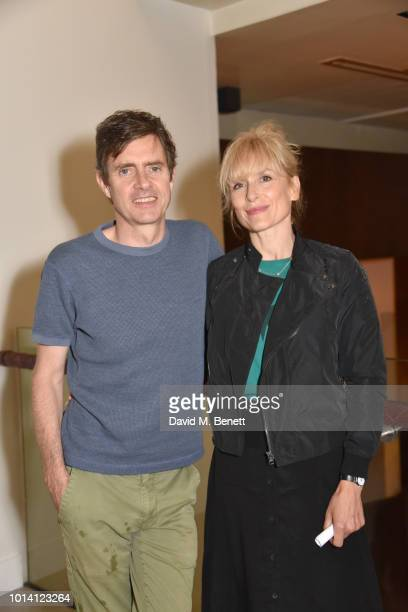Paul Higgins and Amelia Bullmore attend the press night after party for 'Aristocrats' at The Hospital Club on August 9 2018 in London England
