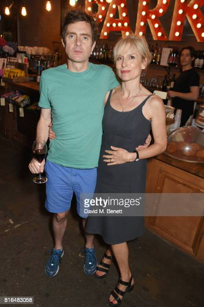 Paul Higgins and wife Amelia Bullmore attend the press night party for 'Twilight Song' at The Park Theatre on July 17 2017 in London England