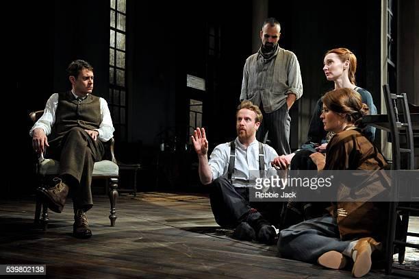 Paul Higgins as Boris Geoffrey Streatfeild as Protasov Gerald Kyd as Vageen Emma Lowndes as Liza and Justine Mitchell as Yelena in Maxim Gorky's...