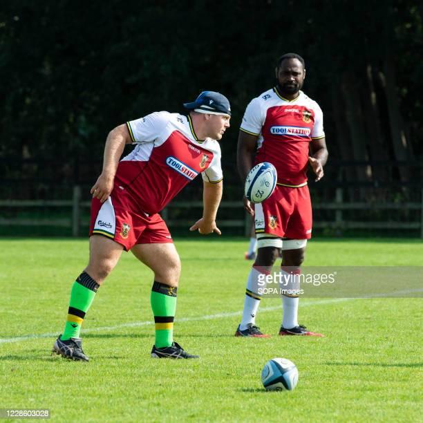 Paul Hill and Api Ratuniyarawa of Northampton Saints in action during Training Day at Franklin's Gardens Northampton