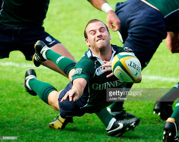 Paul Hodgson of London Irish passes the ball during the Powergen Cup First Round match between London Irish and Wasps at the Madejski Stadium on...