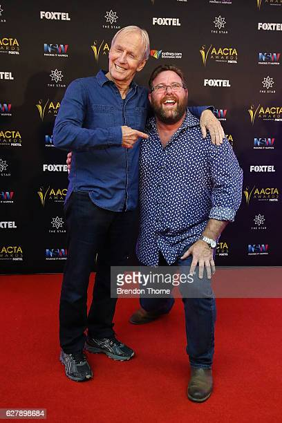 Paul Hogan and Shane Jacobson pose after Paul Hogan is announced as the 2016 AACTA Longford Lyell Award recipient at Dawes Point Park on December 6...