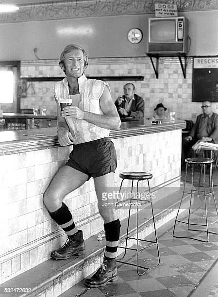 Paul Hogan having a drink in a pub in Paddington, Sydney.