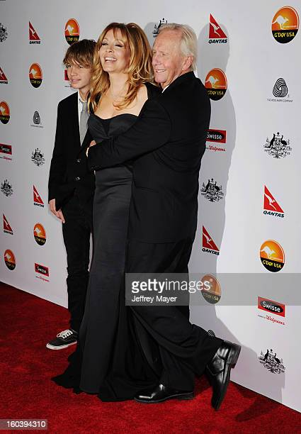 Paul Hogan Linda Kozlowski and son attend the 2013 G'Day USA Black Tie Gala at JW Marriott Los Angeles at LA LIVE on January 12 2013 in Los Angeles...