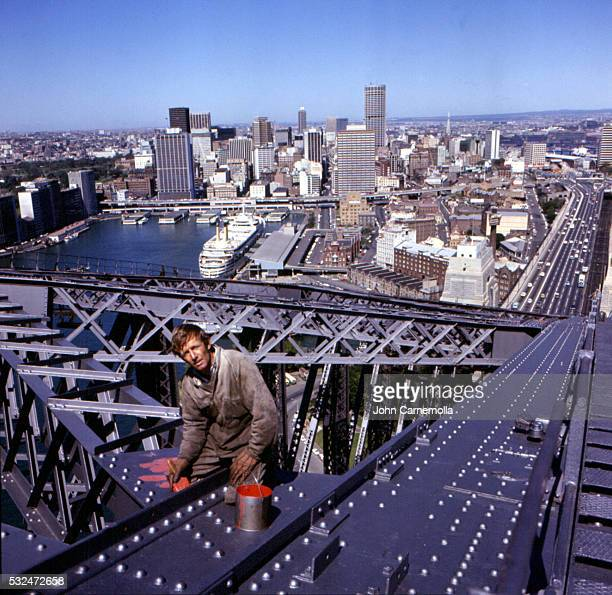 Paul Hogan working as a bridge painter in 1971 before the start of his entertainment days.