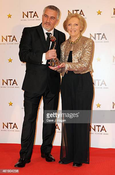 Paul Hollywood and Mary Berry winners of the Skills Challenge Show award pose in the winners room at the National Television Awards at 02 Arena on...