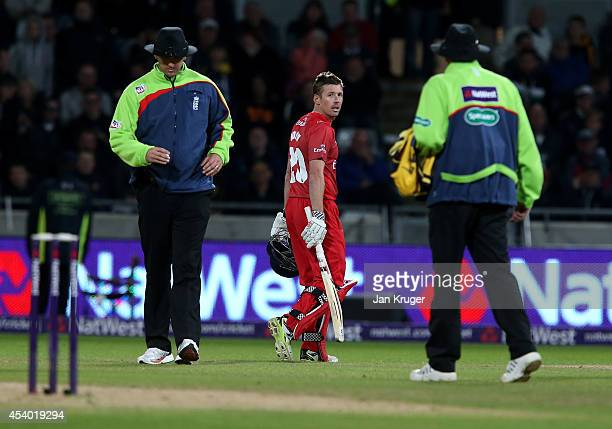 Paul Horton of Lancashire Lightning complains to the umpire after his dismissal during the Natwest T20 Blast Final match between Birmingham Bears and...