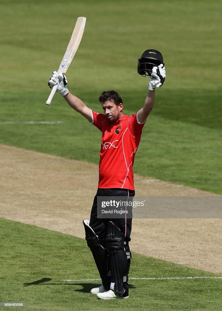 Paul Horton of Leicestershire celebrates his century during the Royal London One-Day Cup match between Northamptonshire and Leicestershire at The County Ground on May 17, 2018 in Northampton, England.