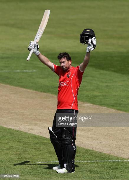 Paul Horton of Leicestershire celebrates his century during the Royal London OneDay Cup match between Northamptonshire and Leicestershire at The...