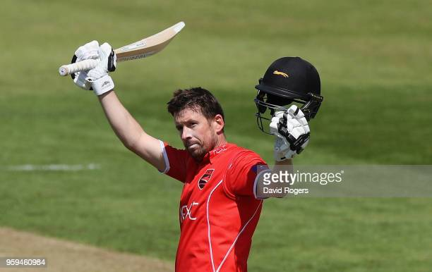 Paul Horton of Leicestershire celebrates his century during the Royal London One-Day Cup match between Northamptonshire and Leicestershire at The...
