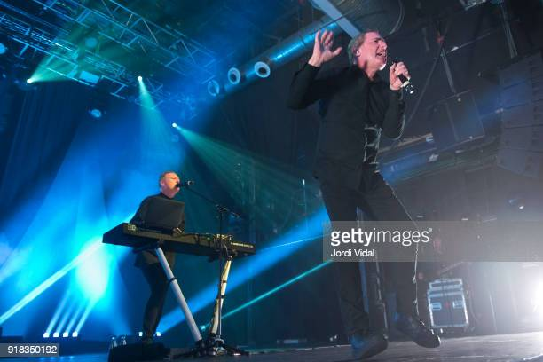 Paul Humphreys and Andy McCluskey of Orchestral Manoeuvres in the Dark perform on stage at Razzmatazz on February 14 2018 in Barcelona Spain