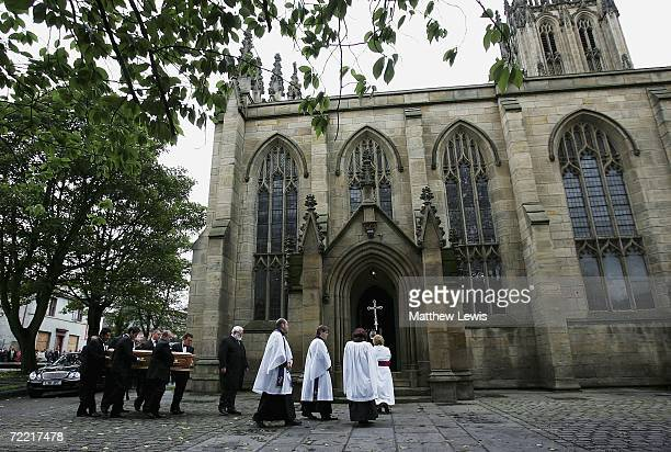 Paul Hunter's coffin is carried into Leeds Parish Church on October 19, 2006 in Leeds, England. The three-time Masters champion lost his battle to...