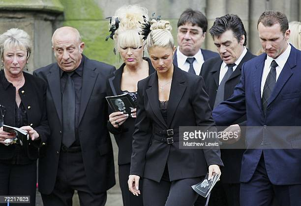 Paul Hunter's family Alan Hunter , Christine Hunter and Leanne Hunter leaves the funeral of Paul Hunter at Leeds Parish Church on October 19, 2006 in...