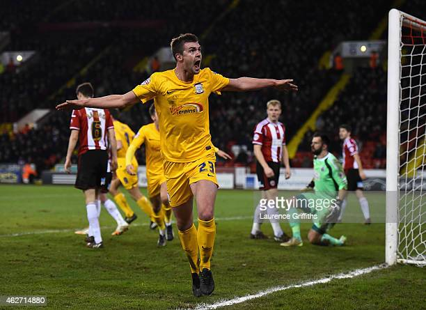 Paul Huntington of Preston North End celebrates scoring the second goal during the FA Cup Fourth Round Replay match between Shefield United and...