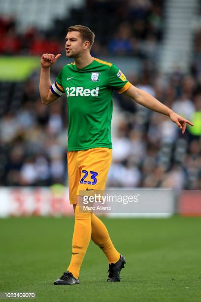 Paul Huntington of Preston North End during the Sky Bet Championship match between Derby County and Preston North End at Pride Park Stadium on August...