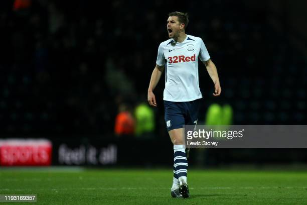 Paul Huntington of Preston North End reacts following his sides second goal during the Sky Bet Championship match between Preston North End and...