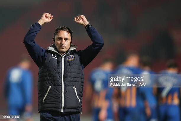 Paul Hurst Manager / Head Coach of Shrewsbury Town celebrates at full time during the Sky Bet League One match between Doncaster Rovers and...