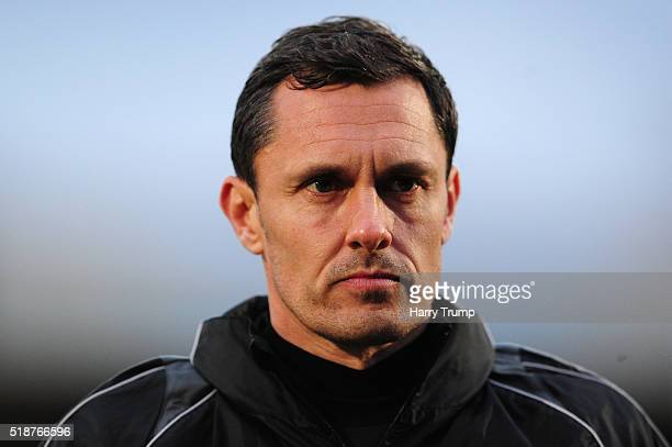 Paul Hurst Manager of Grimsby Town during the Vanarama Football Conference match between Cheltenham Town and Grimsby Town at the World of Smile...