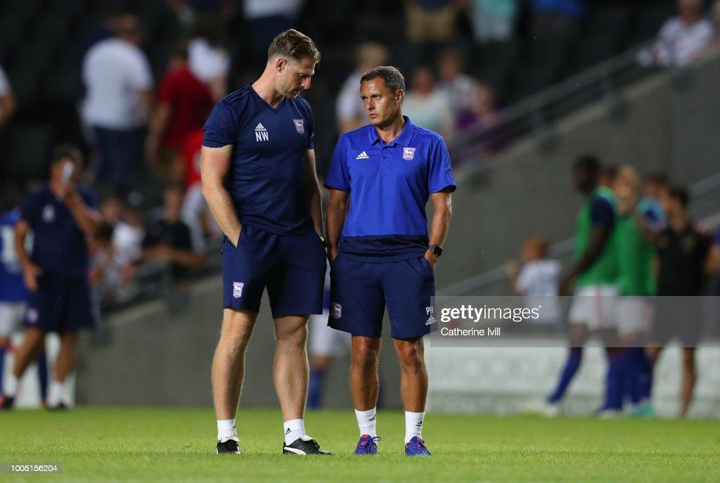 Paul Hurst manager of Ipswich Town with fitness coach Nathan Winder during the Pre Season Friendly between Milton Keynes Dons and Ipswich Town at StadiumMK on July 24, 2018 in Milton Keynes, England.