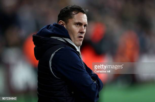 Paul Hurst manager of Shrewsbury Town during the Emirates FA Cup Third Round Replay match between West Ham United and Shrewsbury Town at London...