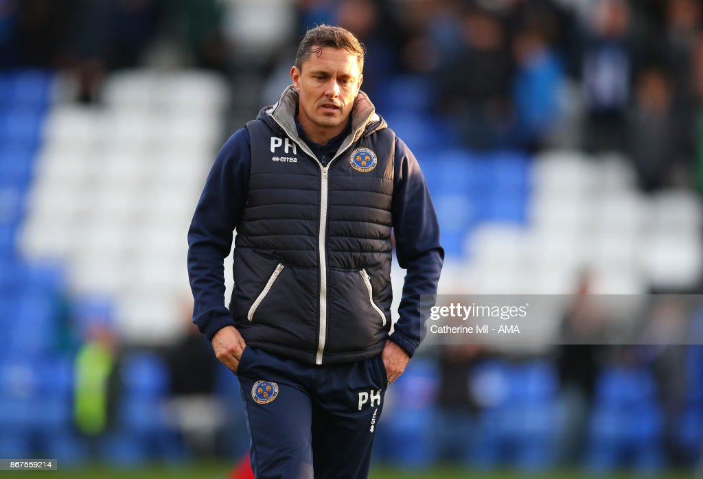 Paul Hurst manager of Shrewsbury Town during the Sky Bet League One match between Peterborough United and Shrewsbury Town at ABAX Stadium on October 28, 2017 in Peterborough, England.