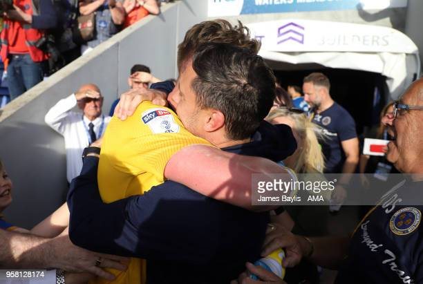 Paul Hurst the head coach / manager of Shrewsbury Town celebrates with Dean Henderson of Shrewsbury Town after the Sky Bet League One Play Off Semi...