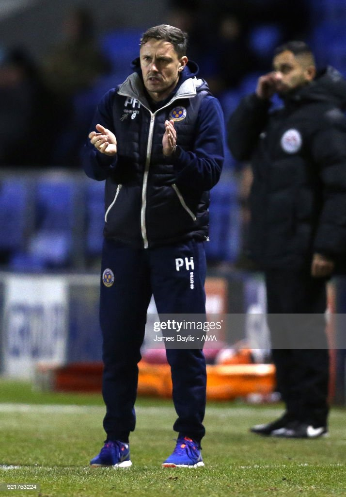 Paul Hurst the head coach / manager of Shrewsbury Town during the Sky Bet League One match between Shrewsbury Town and Gillingham at New Meadow on February 20, 2018 in Shrewsbury, England.