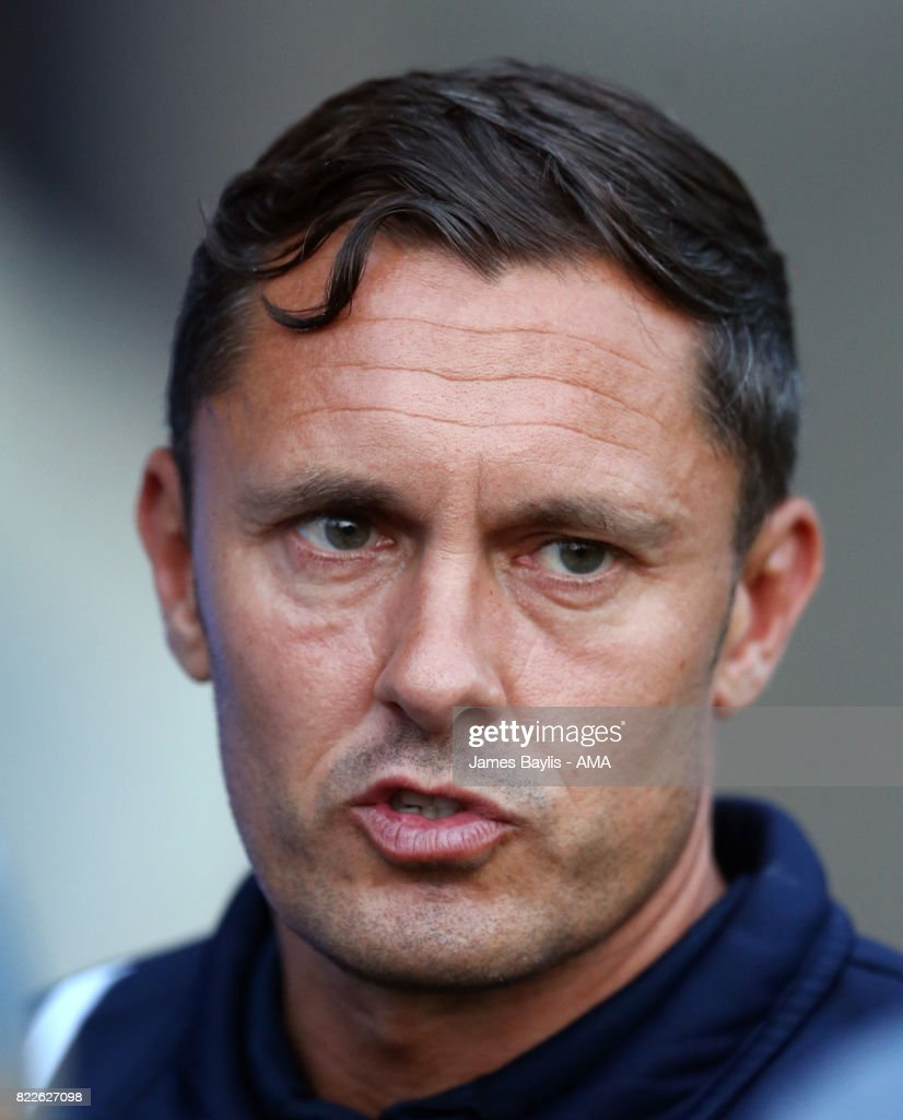 Paul Hurst the head coach of Shrewsbury Town during the pre-season friendly between Shrewsbury Town and Cardiff City at The Montgomery Waters Meadow on July 25, 2017 in Shrewsbury, England.