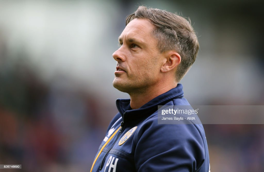 Paul Hurst the manager of Shrewsbury Town during the Sky Bet League One match between Shrewsbury Town and Northampton Town at New Meadow on August 5, 2017 in Shrewsbury, England.