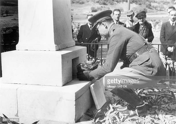 Paul I. Of Greece , King of Greece 1947-1964, - Burial of the urn, that contains Coubertin's heart in the pedestal of a memorial, stele in Olympia by...