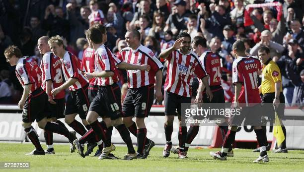 Paul Ifill of Sheffield celebrates his goal during the Coca-Cola Championship match between Sheffield United and Hull City at Bramall Lane on April...