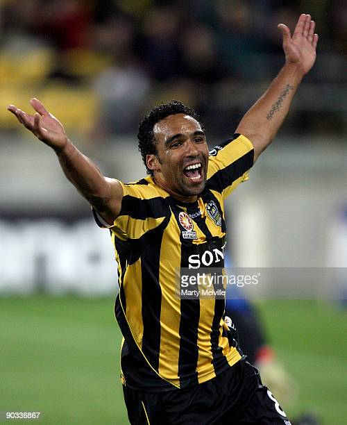 Paul Ifill of the Phoenix celebrates a goal during the round five A-League match between the Wellington Phoenix and Adelaide United at Westpac...