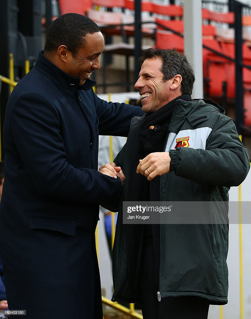 Paul Ince, Manager of Blackpool and Gianfranco Zola, Manager of Watford embrace prior to kick off during the npower Champions match between Watford and Blackpool at Vicarage Road on March 9, 2013 in Watford, England.