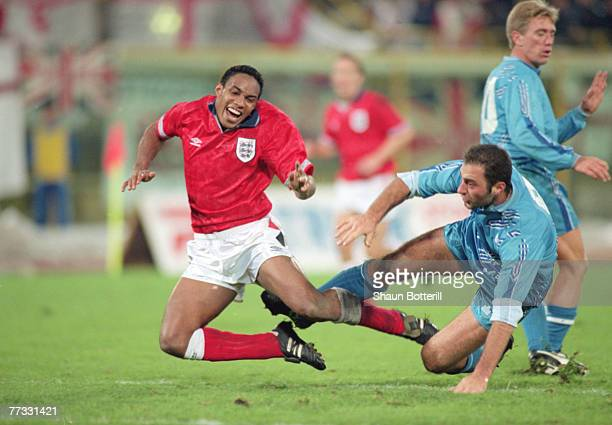 Paul Ince of England and Fuerra of San Marino during a World Cup qualifier match between San Marino and England, 17th November 1993. England won 1-7.