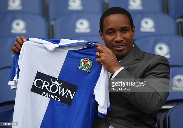 Paul Ince the newly appointed manager of Blackburn Rovers holds up the club shirt at Ewood Park on June 24 2008 in Blackburn England Paul Ince is the...