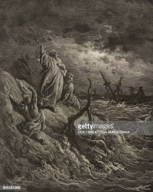 Paul is shipwrecked on Malta engraving by Gustave Dore from The Holy Scriptures containing the Old and New Testaments Translated from The Latin...
