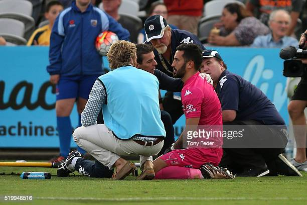 Paul Izzo goalkeeper for the Mariners is injured during the round 27 ALeague match between the Central Coast Mariners and the Newcastle Jets at...