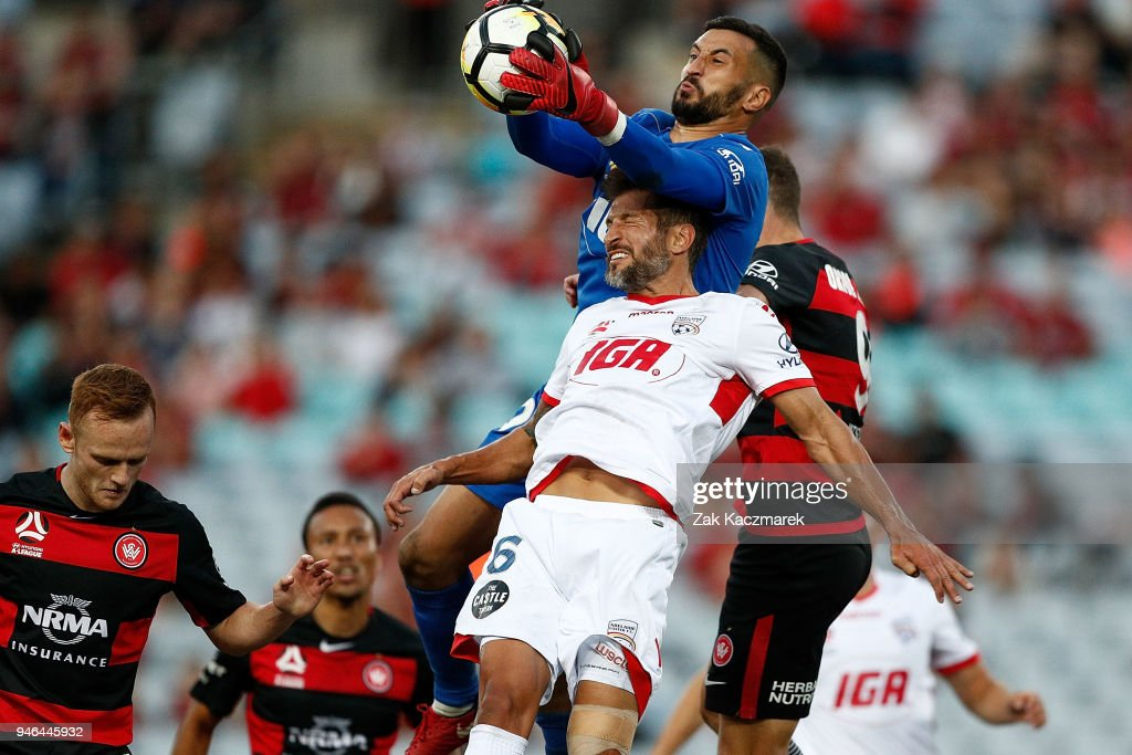 Paul Izzo of Adelaide catches the ball during the round 27 A-League match between the Western Sydney Wanderers and Adelaide United at ANZ Stadium on April 15, 2018 in Sydney, Australia.