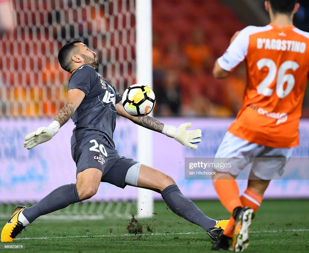 Paul Izzo of Adelaide United makes a save during the round two A-League match between the Brisbane Roar and Adelaide United at Suncorp Stadium on October 13, 2017 in Brisbane, Australia.