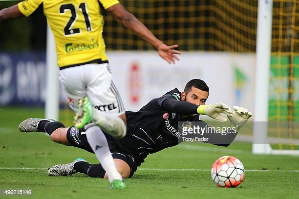 Paul Izzo of the Mariners saves a shot for goal during the round five ALeague match between the Central Coast Mariners and the Wellington Phoenix at...