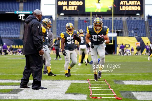 Paul James of the San Diego Fleet warms up before the Alliance of American Football game against the Atlanta Legends at SDCCU Stadium on February 17...